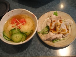 中華薬膳館 ろぢん きゅうり、トロロと豚しゃぶ