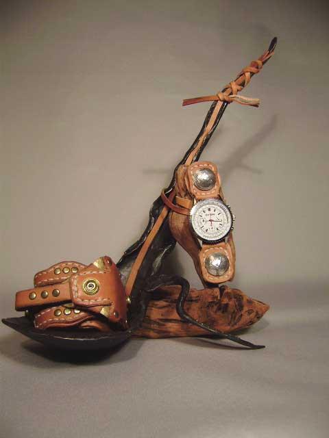 手作りアート置き時計。
