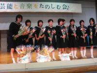 ボランティアの一宮中生徒に感謝の花束贈呈