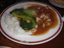 青梗菜と鶏肉揚げ御飯