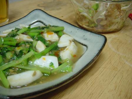 イカと小松菜の生姜炒め