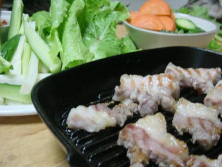 塩豚の野菜巻き納豆味噌