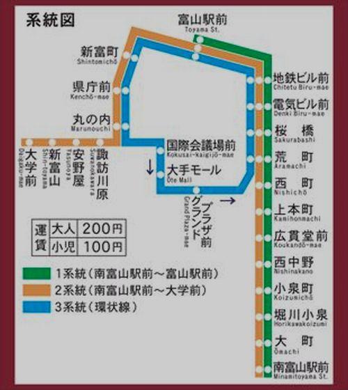 富山地鉄市内線路線図