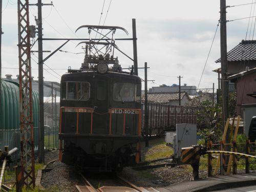 岳南鉄道ED402牽引の貨物列車(本吉原~岳南原田間)