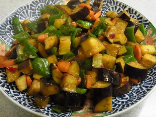 111113-130茄子とピーマンの甘辛味噌炒め(S)
