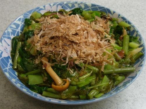 120304-030小松菜と山菜とめかぶの和えもの(S)