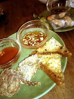 MONSOON CAFE エビ生春巻き+タイ海老トースト+鶏の唐揚げ