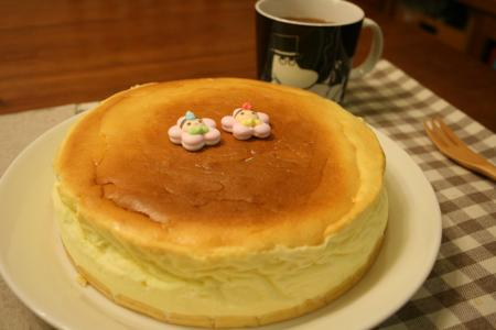 スフレチーズケーキでお祝い