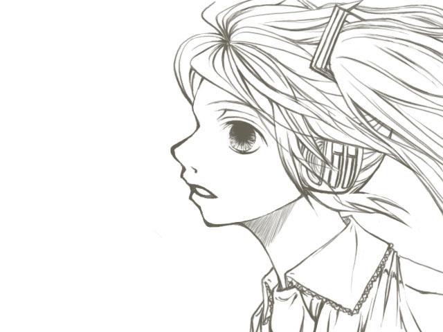 初音ミク線画05