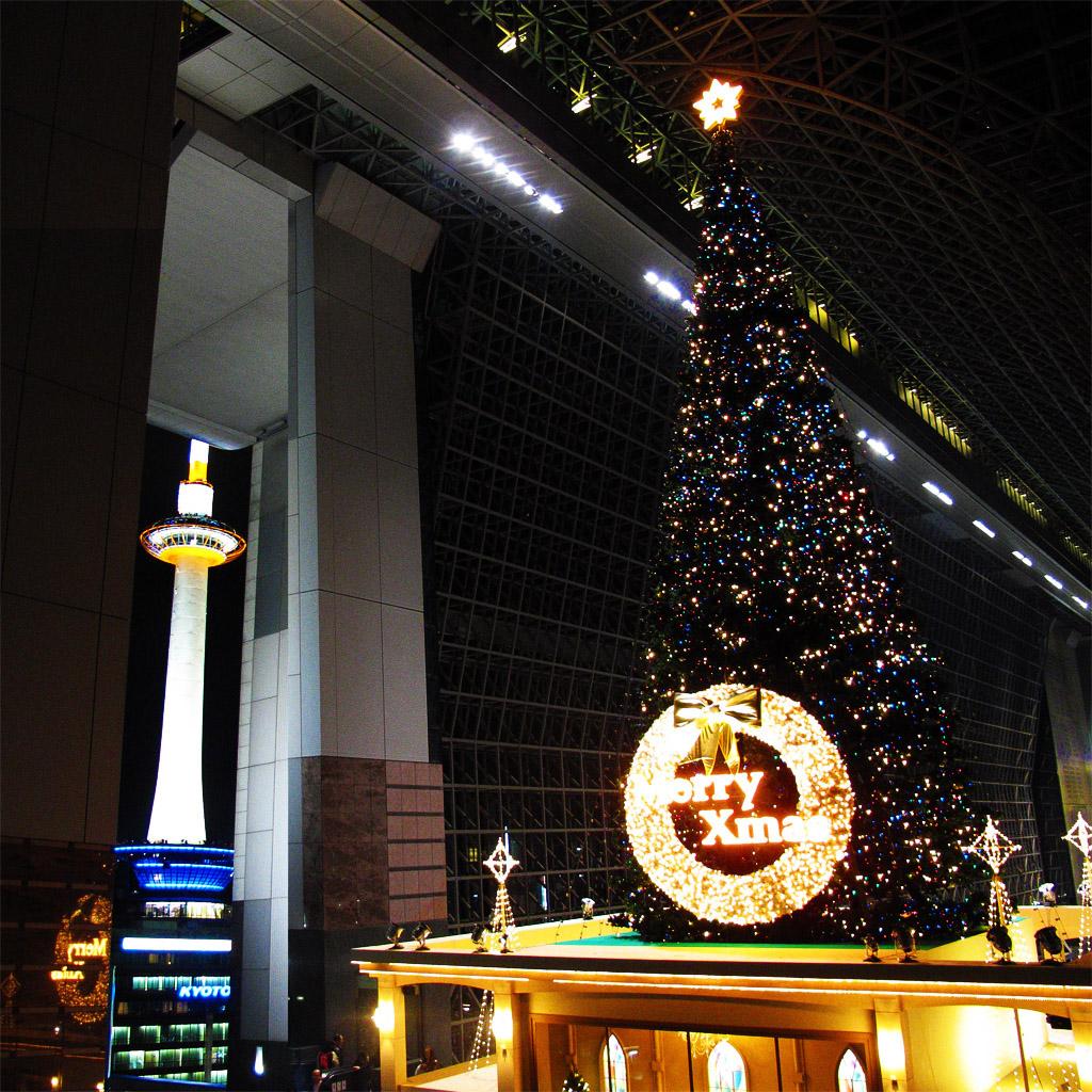 京都、ローソクとツリー