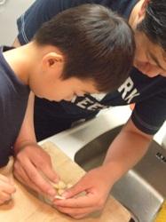 カレーの作り方 「ニンニクの芯を取る」