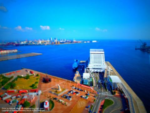 神戸ポートタワーからの景色 ミニチュア風