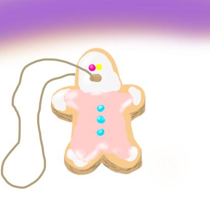 呪いの人形っぽいクッキーひも付き