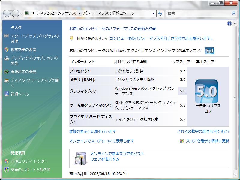 私の自作PCのWindows エクスペリエンスインデックス