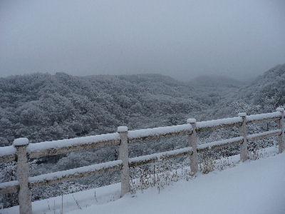 雪の八ヶ岳山麓の渓谷