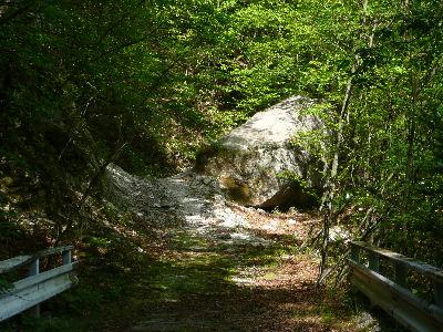 林道をふさぐ岩
