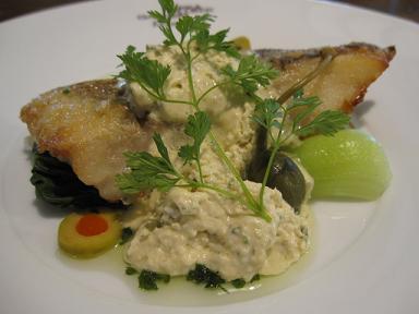 白身魚のグリエと季節野菜のスチーム仕立て