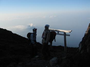 山頂の鳥居NAMとマツ