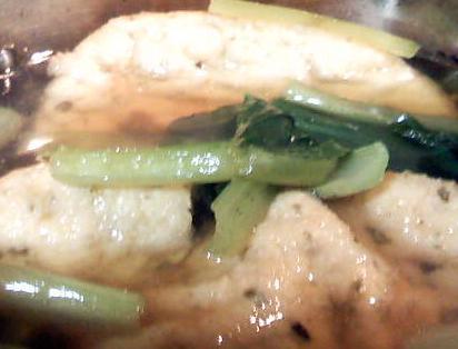 ガンモドキと小松菜とシジミの煮物