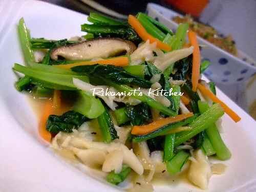 DSCF11・27小松菜ときのこのガーリック炒め