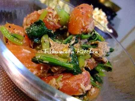 DSCF8・29小松菜とトマトのツナドレッシング