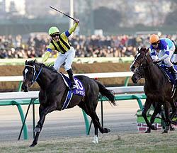 第50回有馬記念・一着ハーツクライ(左)と敗れたディープインパクト(右)