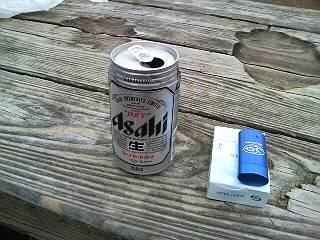 頂上でビール