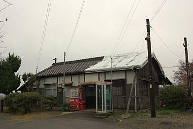 北条鉄道、法華口駅駅舎(WB;曇天)