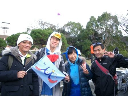 奈良マラ集合写真、おっとーさん旗