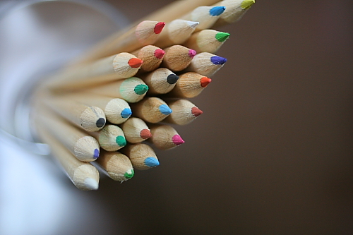 100円ショップの色鉛筆、ケース欲しさに買いました。中身は使い道がなくかわいそうなので写真撮ってブログの題材にしてみました