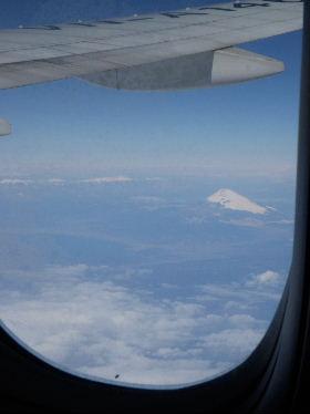 富士山ベトナムへの飛行機から