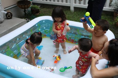 いちのお友達に混ざってプールを楽しむ まの