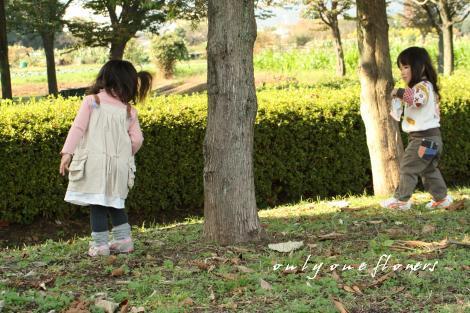 木陰で遊ぶ さきたんといち
