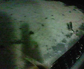 うっすら積雪