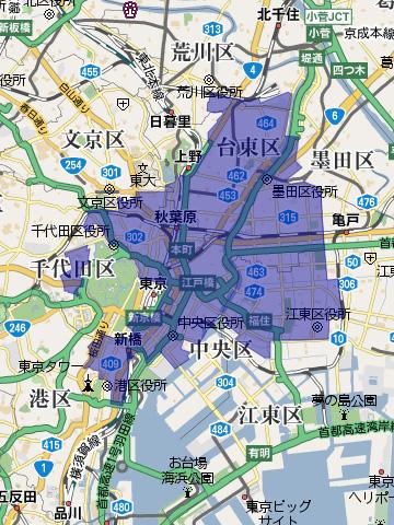 震災復興事業による区画整理範囲