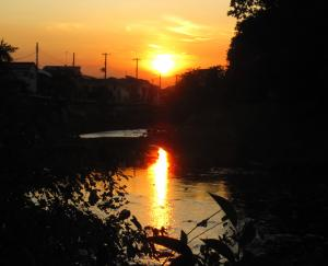 柳瀬川の夕日
