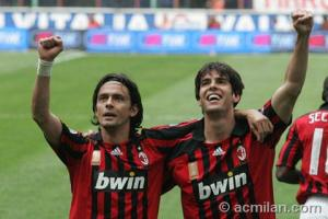 MILAN-INTER: INZAGHI E KAKA' DOPO IL GOL domenica 4 maggio 2008