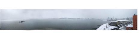 雪景色の宍道湖
