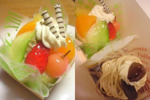 果物とモンブランケーキ♪