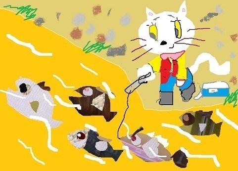 川釣りの猫
