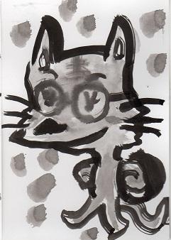猫の墨絵ーー2