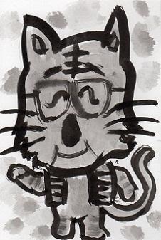 猫の墨絵ーー3