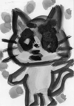 猫ー墨絵4