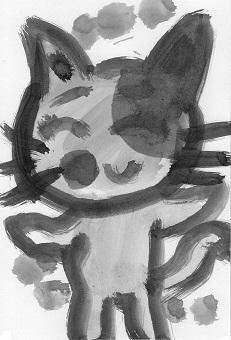 猫ー墨絵5