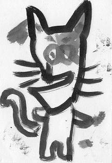 猫ー墨絵6