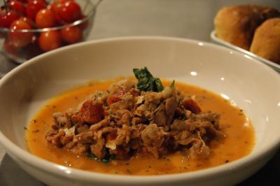 薄切り牛肉のトマト煮