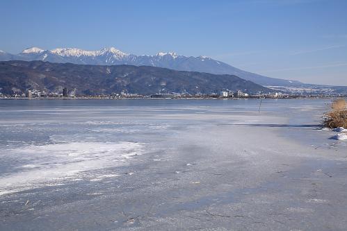 結氷した諏訪湖