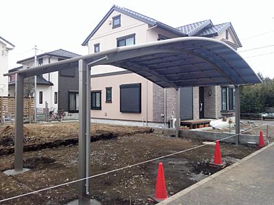 寒川町 外構工事現場 カーポート設置