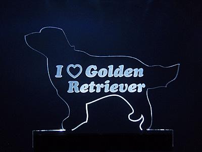LEDライトアップ アクリルプレート 犬 レトリバー