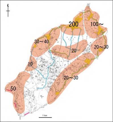 図7 地域別の生息個体数の推定(広島県 2008)
